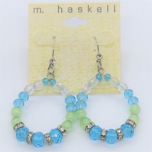m haskell beaded tear drop dangle earrings